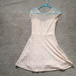 Cream lace skater dress